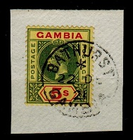 GAMBIA - 1922 5/- green and red on yellow superbly used on piece.  SG 102.