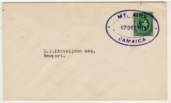 JAMAICA - 1949 1/2d local cover used at MT.AIRY.