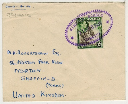 JAMAICA - 1949 2d rate cover to UK used at WINDSOR FORREST.