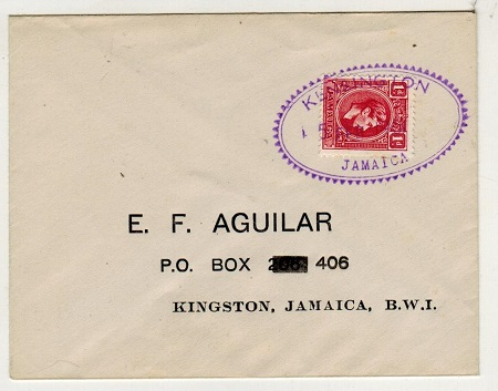 JAMAICA - 1951 1d rate local cover used at KENSINGTON.