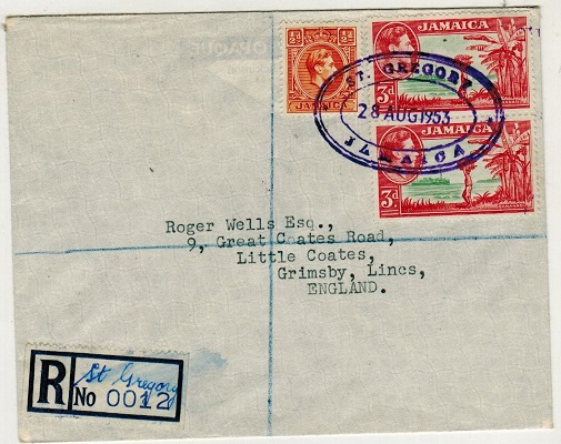 JAMAICA - 1953 registered cover to UK used at ST.GREGORY.