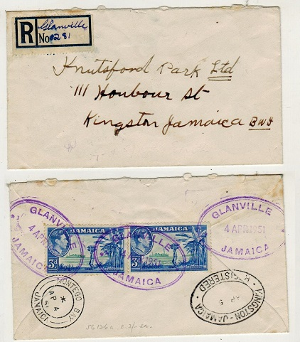 JAMAICA - 1951 6d rate registered local cover used at GLANVILLE.