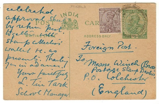 BURMA - 1925 use of Indian 1/2a green PSC (H&G 30) uprated at MINHLA.