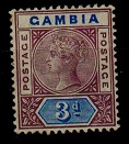 GAMBIA - 1902 3d deep purple and ultramarine shade mint.  SG 41b
