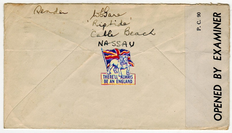 BAHAMAS - 1943 2 1/2d rate cover to Newfoundland with THERE ALWAYS BE AN ENGLAND PATRIOTIC label.