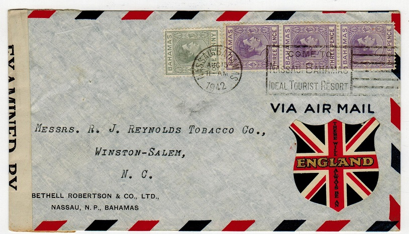 BAHAMAS - 1942 cover to USA with THERE ALWAYS BE AN ENGLAND patriotic label.