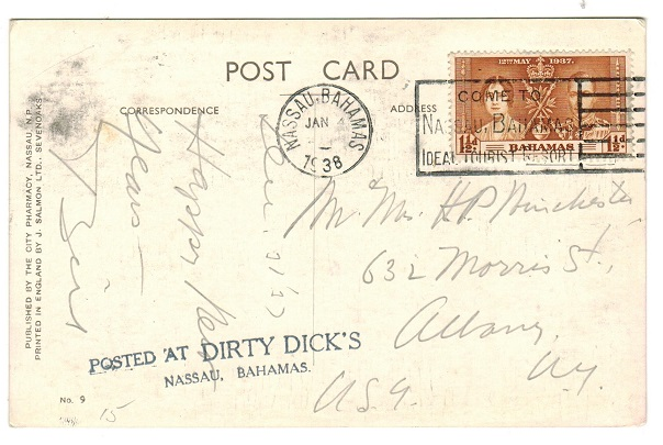 BAHAMAS - 1938 1 1/2d rate postcard use to USA struck