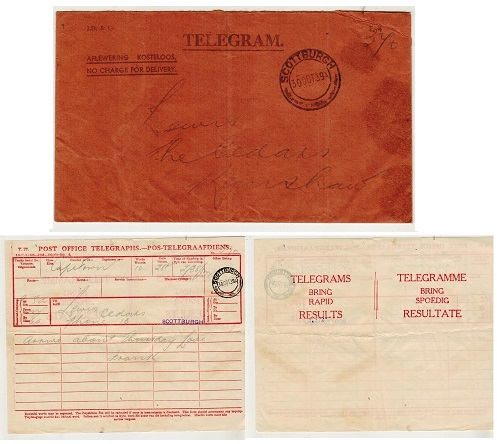 SOUTH AFRICA - 1939 use of TELEGRAM envelope complete with original telegram used at SCOTTBURGH.