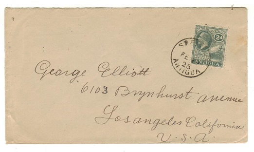 ANTIGUA - 1925 2d rate cover to USA used at ST.PETERS.