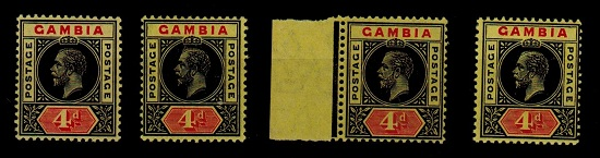 GAMBIA - 1912/22 4d range of mint paper shades.  SG 92/92a,b+c.