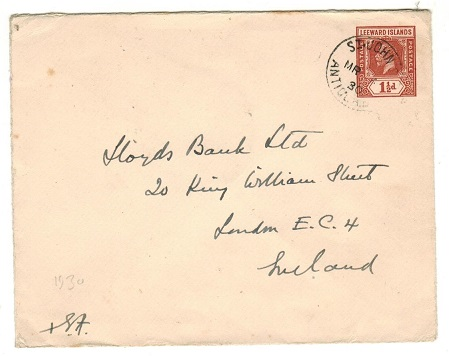 ANTIGUA - 1930 use of Leeward Islands 1 1/2d brown PSE to UK used at ST.JOHNS.  H&G 8.