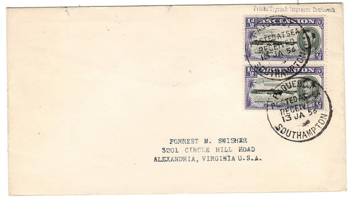 ASCENSION - 1956 1d rate cover to USA cancelled PAQUEBOT/SOUTHAMPTON.