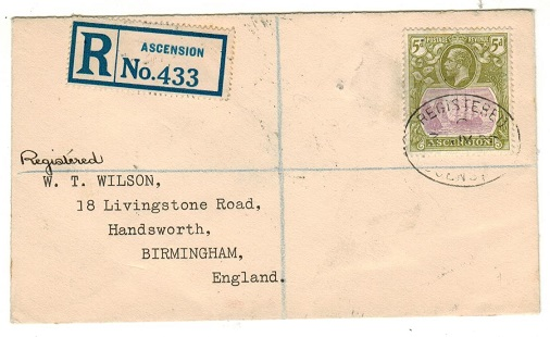 ASCENSION - 1928 5d registered cover to UK.