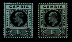 GAMBIA - 1909 1/- black on blue-green and on emerald paper shade.  SG 81.