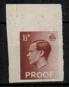 GREAT BRITAIN - 1936 1 1/2d red-brown (SG 459) IMPERFORATE PLATE PROOF inscribed PROOF at bottom.