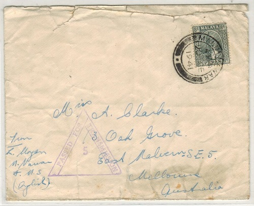 MALAYA (Perak) - 1941 PASSED FOR TRANSMISSION 5 censor cover to Australia used at MALIM NAWAR.
