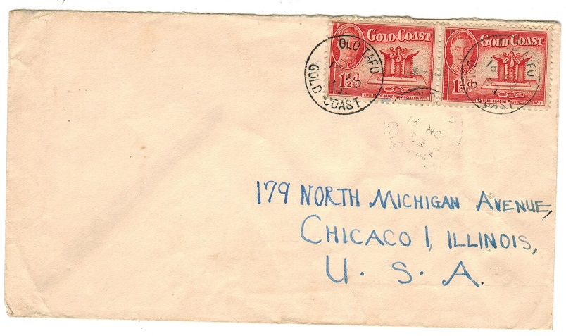 GOLD COAST - 1953 3d rate cover to USA used at OLD TAFO.