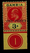 GAMBIA - 1906 1d on 3/- mint PLATE 1 example. SG 70.