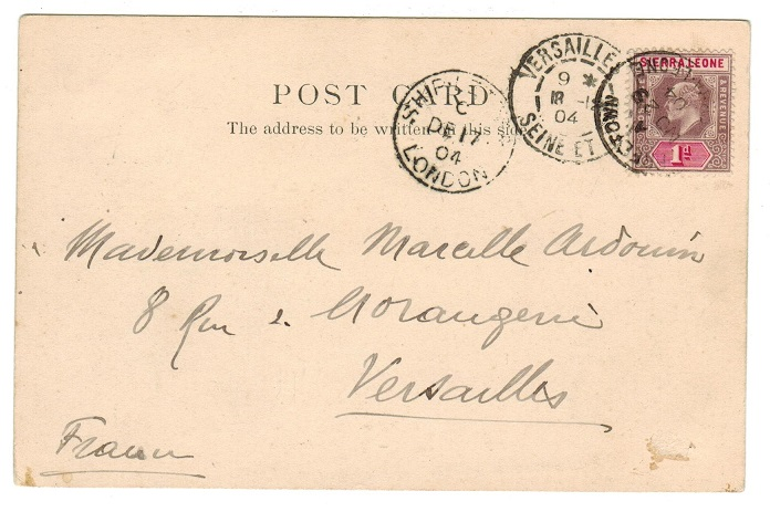 SIERRA LEONE - 1904 1d rate postcard use to UK with SHIP LETTER/LONDON strike applied.