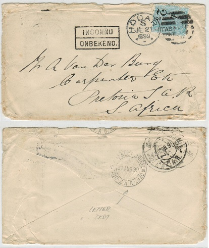 TRANSVAAL - 1899 inward cover from Tasmania with INCONNU h/s applied.