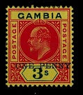 GAMBIA - 1906 1d on 3/- (SG 70) mint with DROPPED OVERPRINT.