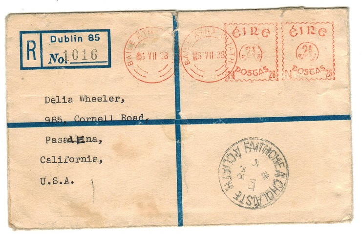 IRELAND - 1938 2 1/2d (x2) meter mark registered cover to USA used at DUBLIN.