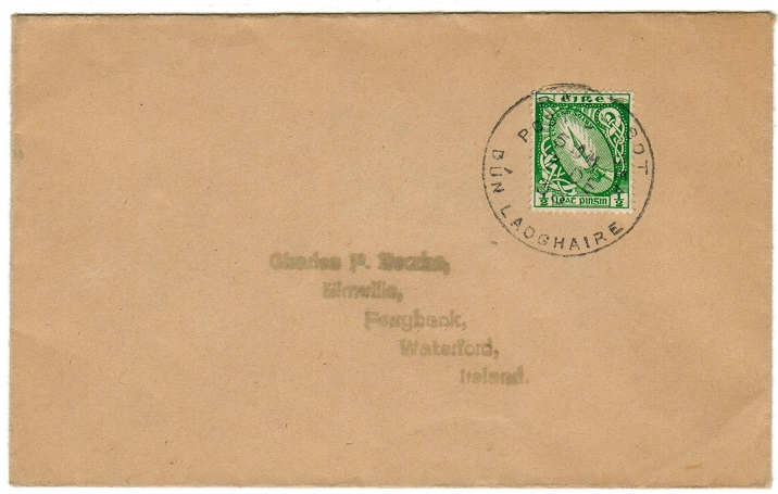 IRELAND - 1933 1/2d rate local cover struck PAQUEBOT/DUN LADGHAIRE.