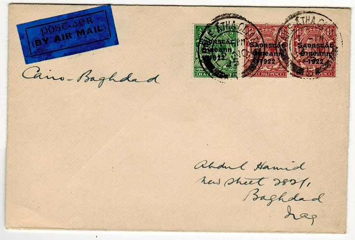 IRELAND - 1925 first flight cover to Iraq.