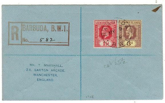 BARBUDA - 1928 4 1/2d rate registered cover to UK with the use of Leeward Island adhesives.