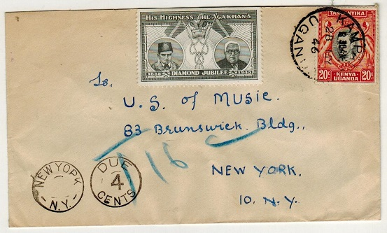 K.U.T. - 1946 20c rate cover to USA with