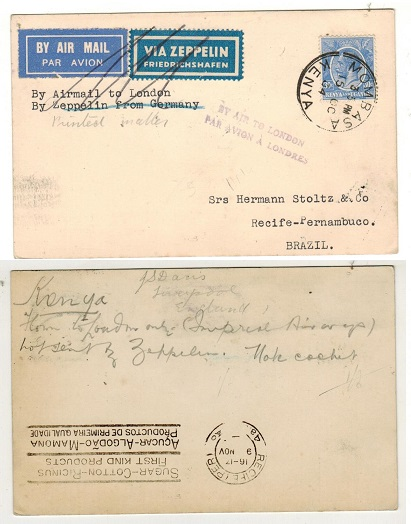 K.U.T. - 1934 30c rate cover to Brazil with BY AIR TO LONDON marking.