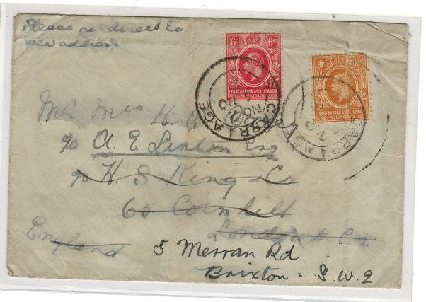 K.U.T. - 1921 16c rate (grubby) cover to UK used by S.CARRAGE railway strike.