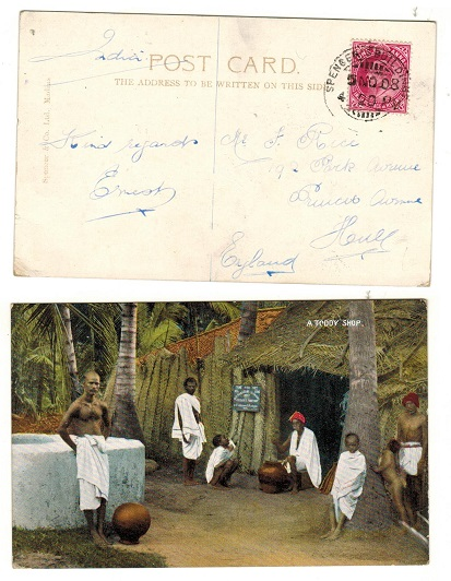 INDIA - 1908 1a rate postcard use to UK used at SPENCERS BUILDING.