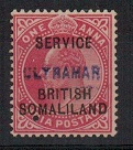 SOMALILAND - 1903 1a carmine SERVICE adhesive (SG 07) handstamped ULTRMAR.