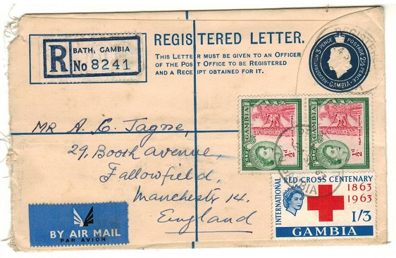 GAMBIA - 1953 3d+2 1/2d dark blue RPSE to UK uprated at BATHURST. H&G 6.