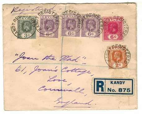 CEYLON - 1915 6c dark rose PSE registered to UK cancelled REGISTERED/KANDY.