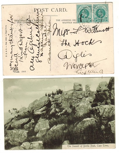 NATAL - 1906 1d rate postcard use to UK used at HATTINGSPRUIT.