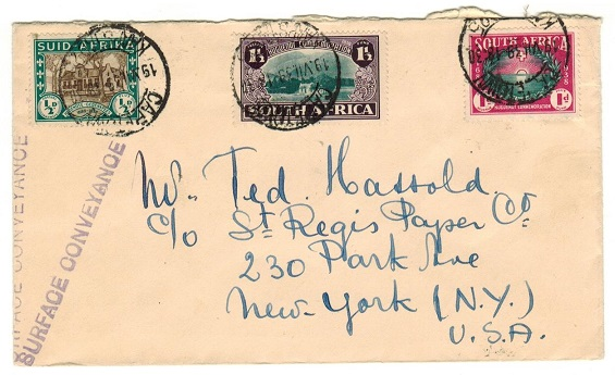 SOUTH AFRICA - 1939 3d rate cover to USA from Cape Town struck SURFACE CONVEYANCE.