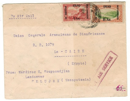 IRAQ - 1922 9an rate cover to Egypt with BY AIR SERVICE h/s in red.