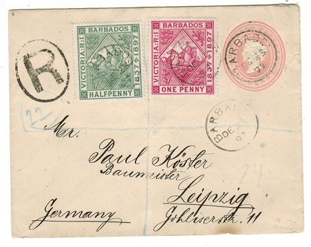 BARBADOS - 1882 1d pink PSE uprated and registered to Germany.  H&G 1a.
