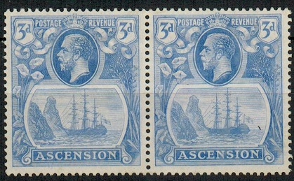 ASCENSION - 1924 3d blue mint pair with TORN FLAG variety.  SG 14b.
