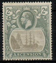 ASCENSION - 1924 2d grey black mint with CLEFT ROCK variety.  SG 13c.