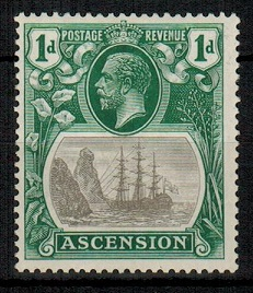 ASCENSION - 1924 1d grey black and deep blue green mint with TORN FLAG variety.  SG 11b.