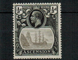 ASCENSION - 1924 1/2d grey black and black mint with CLEFT ROCK variety.  SG 10c.