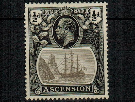 ASCENSION - 1924 1/2d grey black and black mint with BROKEN MAST variety.  SG 10a.