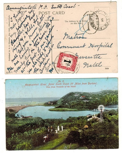 NATAL - 1914 local unpaid postcard from AMANZIMTOTI with Transvaal 1d