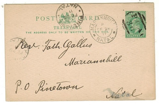 NATAL - 1911 use of 1/2d green PSC of Transvaal (H&G 11) tied P.O.A.36