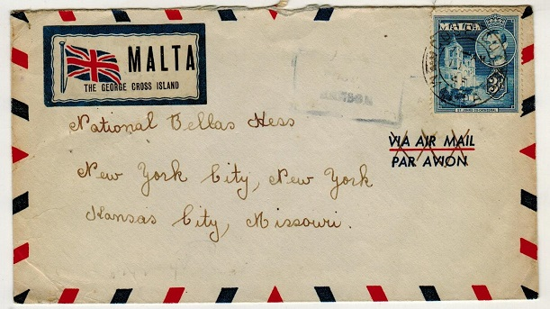 MALTA - 1945 3d rate censor cover to USA with