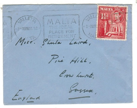 MALTA - 1938 1 1/2d rate cover to UK with