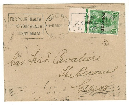 MALTA - 1927 1/2d rate cover to Greece with